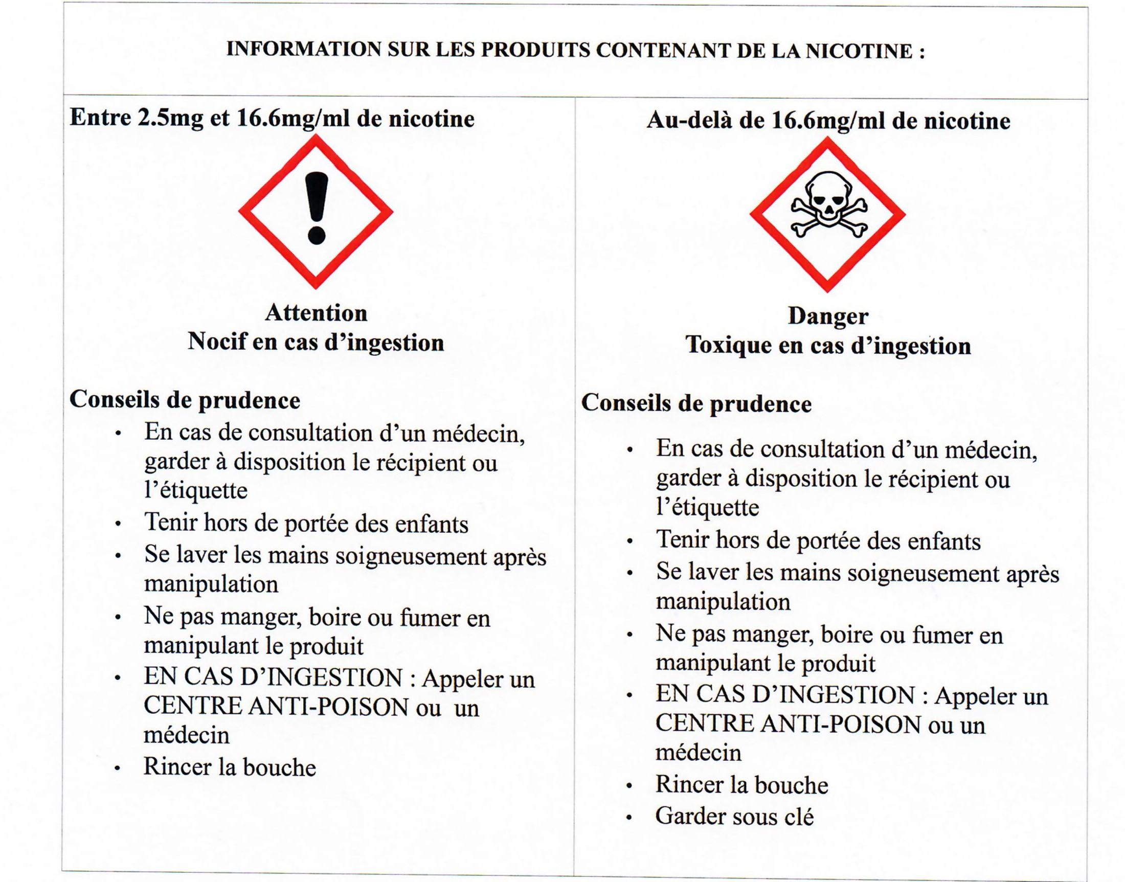 Info légale sur les e-liquides nicotinés
